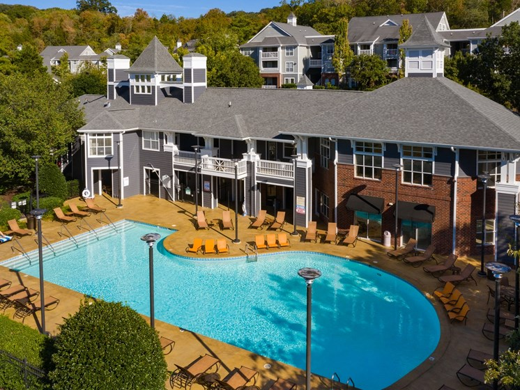 Revitalizing Resort Style Swimming Pool with Relaxation Space and Seating Area at The Lexington Apartments, Nashville, TN 37209