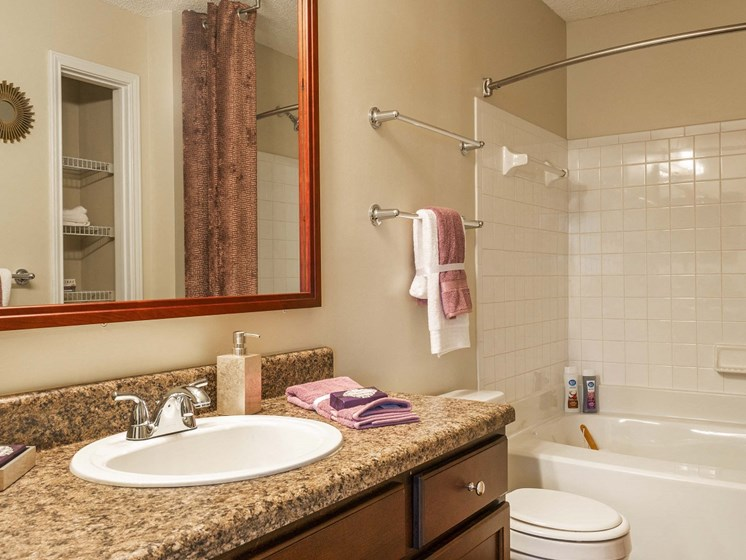 Spacious Bathroom with Relaxing Garden Tub and Updated Counters at The Lexington Apartments, Nashville, TN 37209