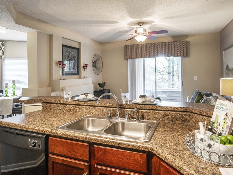 Newly Designed Kitchens with Breakfast Bar and Dishwashers at The Lexington Apartments, Nashville, TN 37209