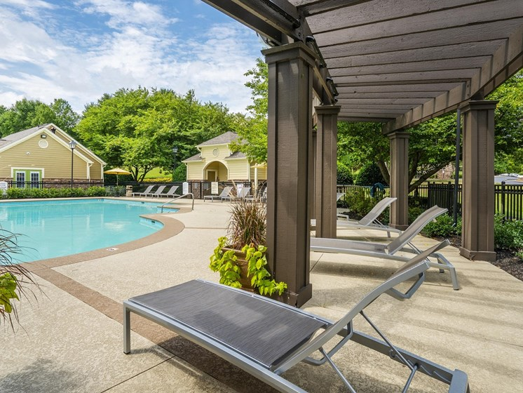 Revitalizing Resort Style Swimming Pool with Relaxation Space and Seating Area at The Overlook Apartments Homes, Antioch, TN 37013