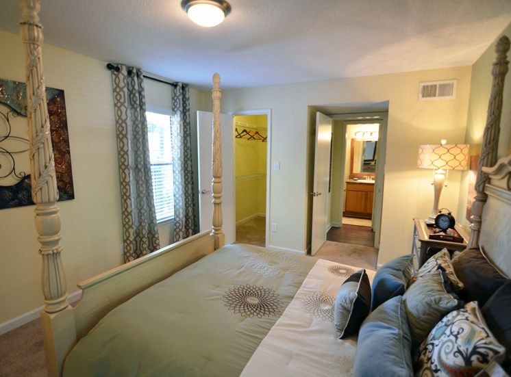 Master Bedroom Feels Large and Spacious with Impressive High Ceilings and Large Walk-In Closets at The Summit Apartments, Memphis, TN 38128