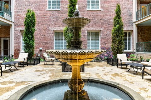 Relax in the Private Courtyard surrounding Gorgeous Relaxing Water Feature at The Tennessee Brewery, Memphis, TN 38103
