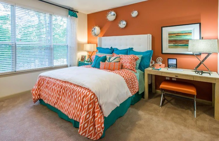 Master Bedroom Feels Large and Spacious with Impressive 11 Foot Ceilings and Large Walk-In Closets at Twenty25 Barrett Apartments, Kennesaw, GA 30144