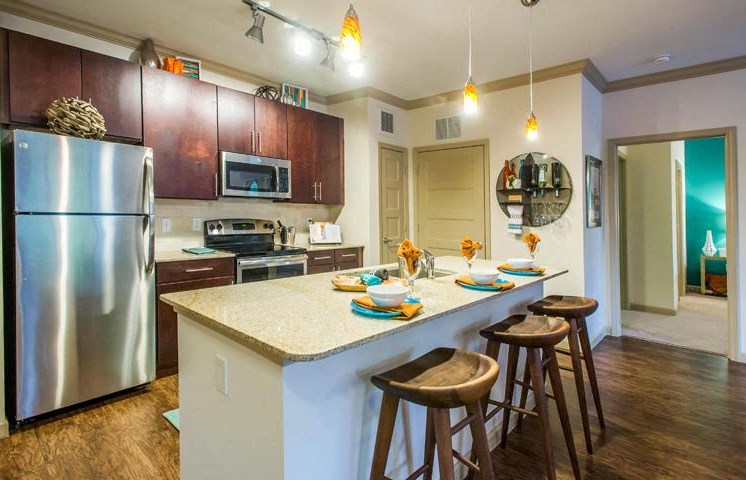 Sleek, Modern Kitchens with Energy Star Stainless Steel Appliances, Toffee & Espresso Cabinetry, Tile Backsplash & Plank Flooring at Twenty25 Barrett Apartments, Kennesaw, GA 30144