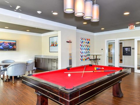 Game Room with Custom Billiards and Card Table at Vanguard Crossing Apartments, University City, MO 63124