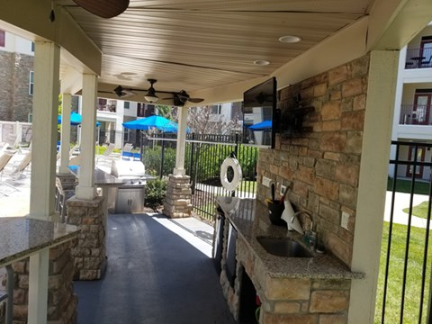 Outdoor Kitchen, Cabanas and Gourmet Grilling Areas at Vanguard Crossing Apartments, University City, MO 63124