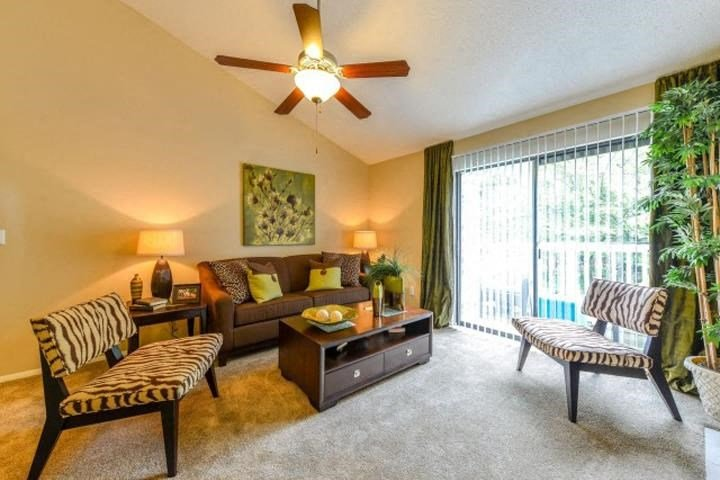 Energy Saving Ceiling Fans within Vaulted Ceilings Make the Living Areas at Waterford Place Apartments, Louisville, KY 40207