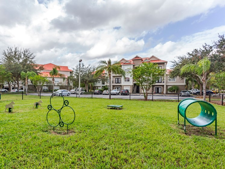 Your dogs need exercise and room to run around! Enjoy our on-site Pet Park with agility equipment at Westlake Apartment Homes, Sanford, FL 32771