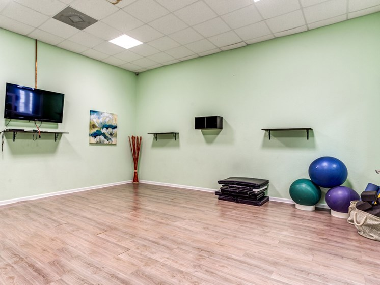 Health and Fitness Club including Yoga Studio with Mats, Exercise Balls, TV and more at Westlake Apartment Homes, Sanford, FL 32771