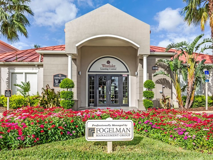 Lush landscaping surrounds you as you drive into Westlake Apartment Homes, Sanford, FL 32771