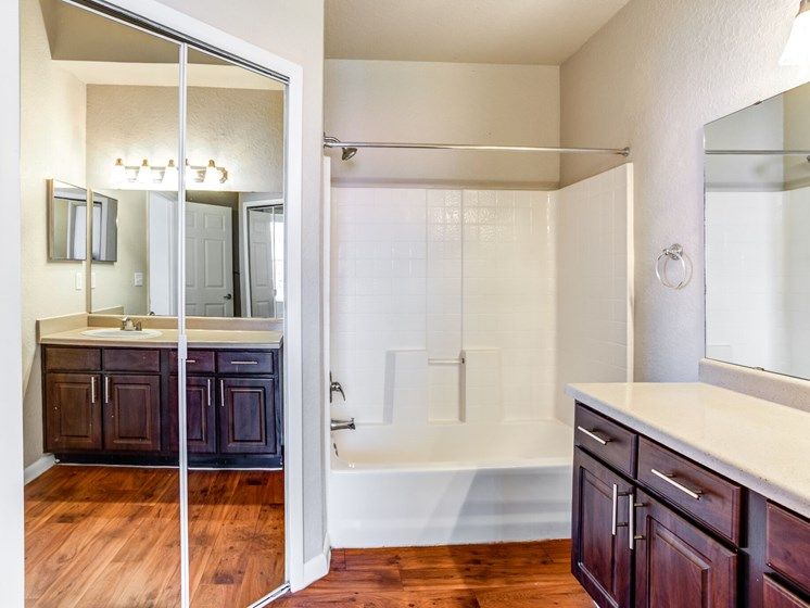 Relax after a long day in your bathroom with garden tub at Westlake Apartment Homes, Sanford, FL 32771