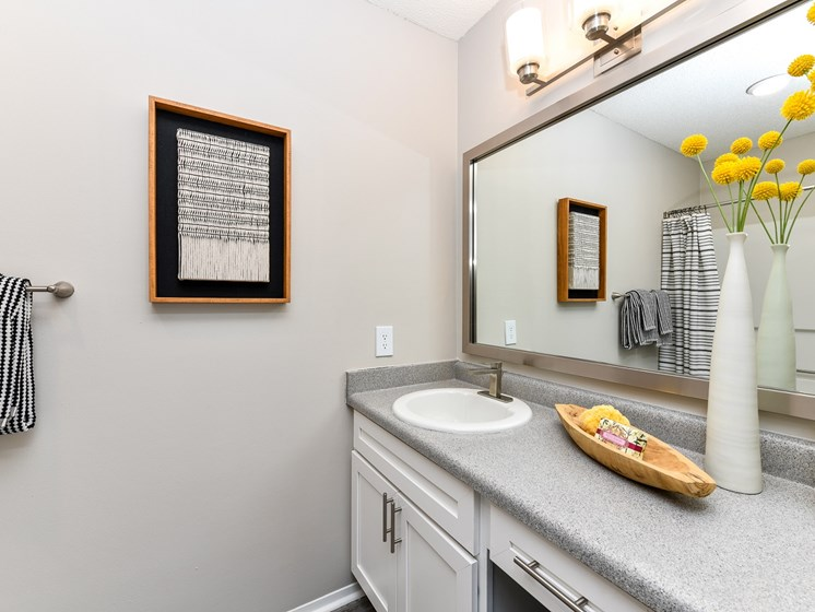 Spacious bathroom with large vanity at 15Seventy, Chesterfield, MO 63017