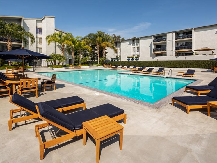 Pool Side Relaxing Area With Sundeck at Warner Villa, California, 91367
