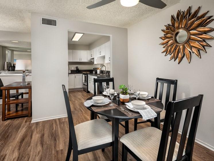 Warm Living And Dining Room at Warner Villa, Woodland Hills, California