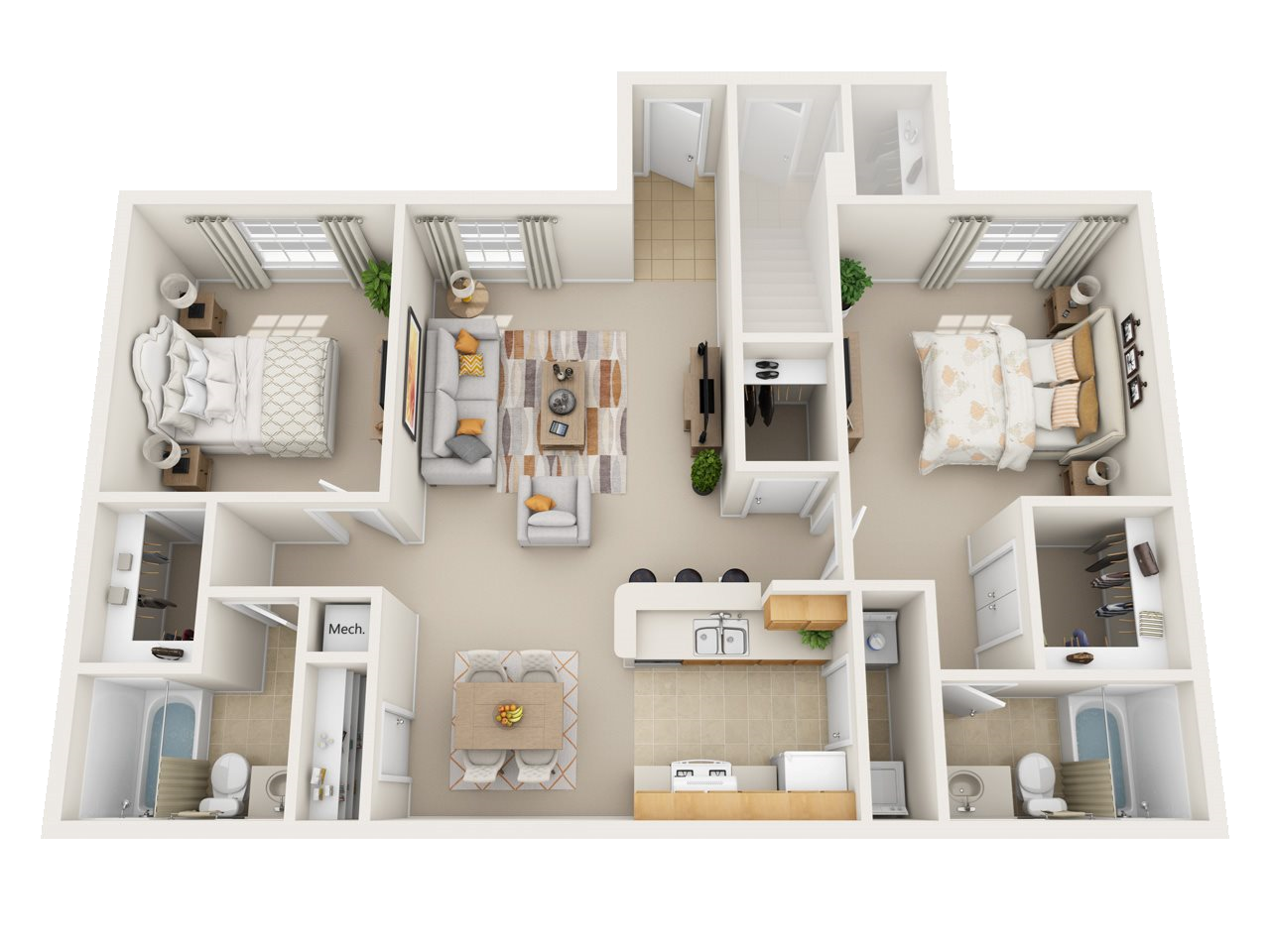 Two Bedroom M Floor Plan 2