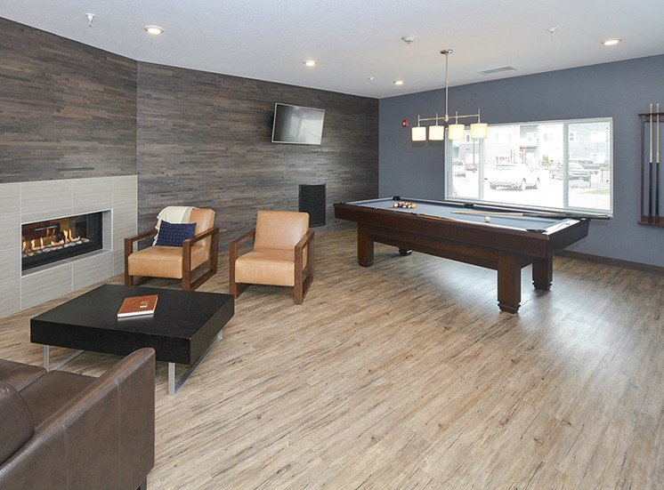 Billiards and Fireplace in Clubhouse