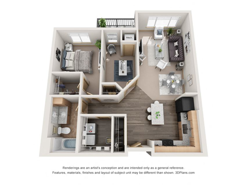 876 sq.ft. One Bed One Bath