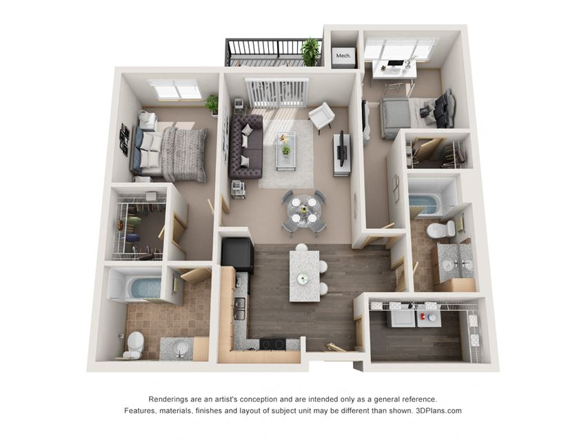 933 sq.ft. Two Bed Two Bath