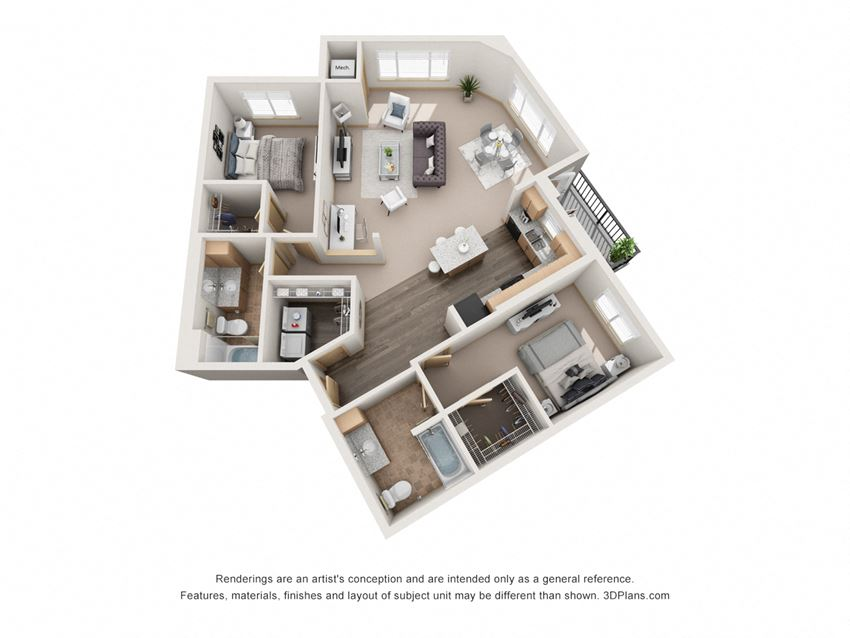 1189 sq.ft. Two Bed Two Bath