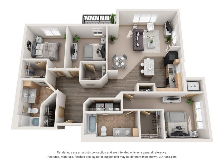 1318 sq.ft. Three Bed Two Bath