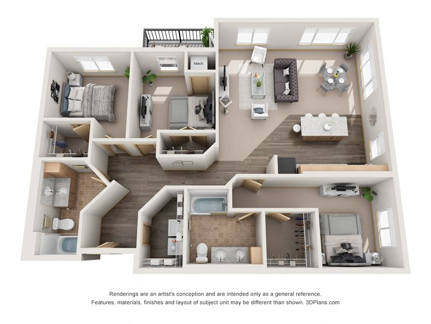 1332 sq.ft. Three Bed Two Bath