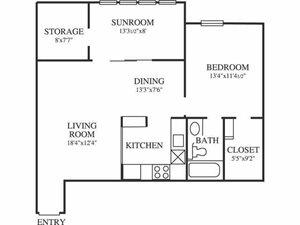 Springfield A4 Floor Plan 1 Bedroom 1 Bath