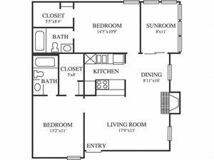 Springfield B2 Floor Plan 2 Bedroom 2 Bath