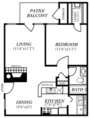 Summers Crossing | A1 Floor Plan 1 Bedroom 1 Bath