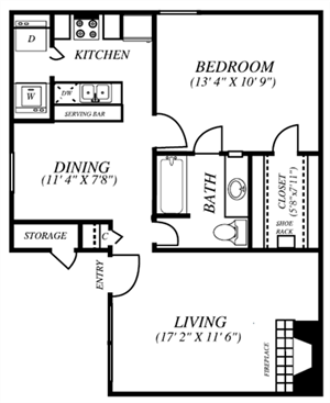 Summers Crossing | A2 Floor Plan 1 Bedroom 1 Bath