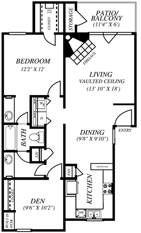 Summers Crossing |B1 Floor Plan 2 Bedroom 1 Bath