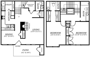 Summers Crossing |B3 Floor Plan 2 Bedroom 2 Bath