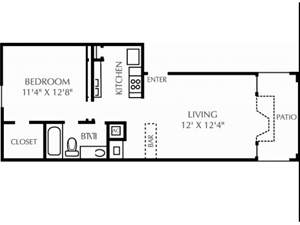 The Arbors of Euless| A1 Floor Plan 1 Bedroom 1 Bath