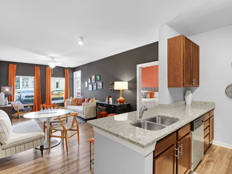 Trendy Living Room With Dining Area  at Abberly Avera Apartment Homes, Manassas