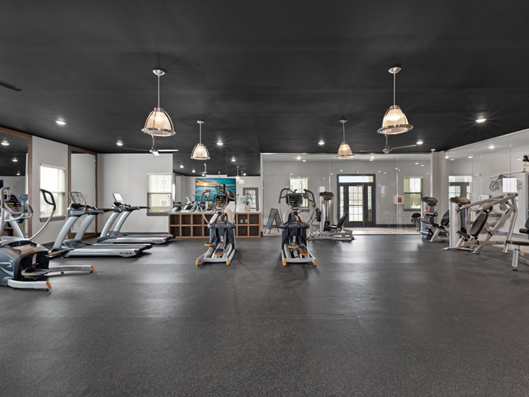 Free Weights in Gym at Abberly Avera Apartment Homes, Virginia