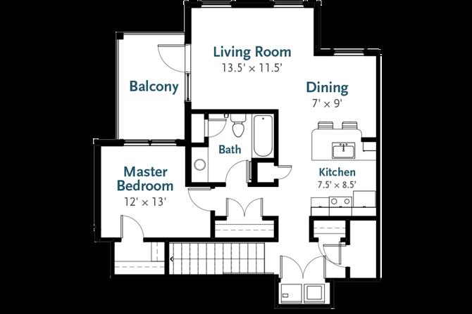 Horizon - Garden Apartment Floor Plan at Deerfield Place, Utica, NY, 13502