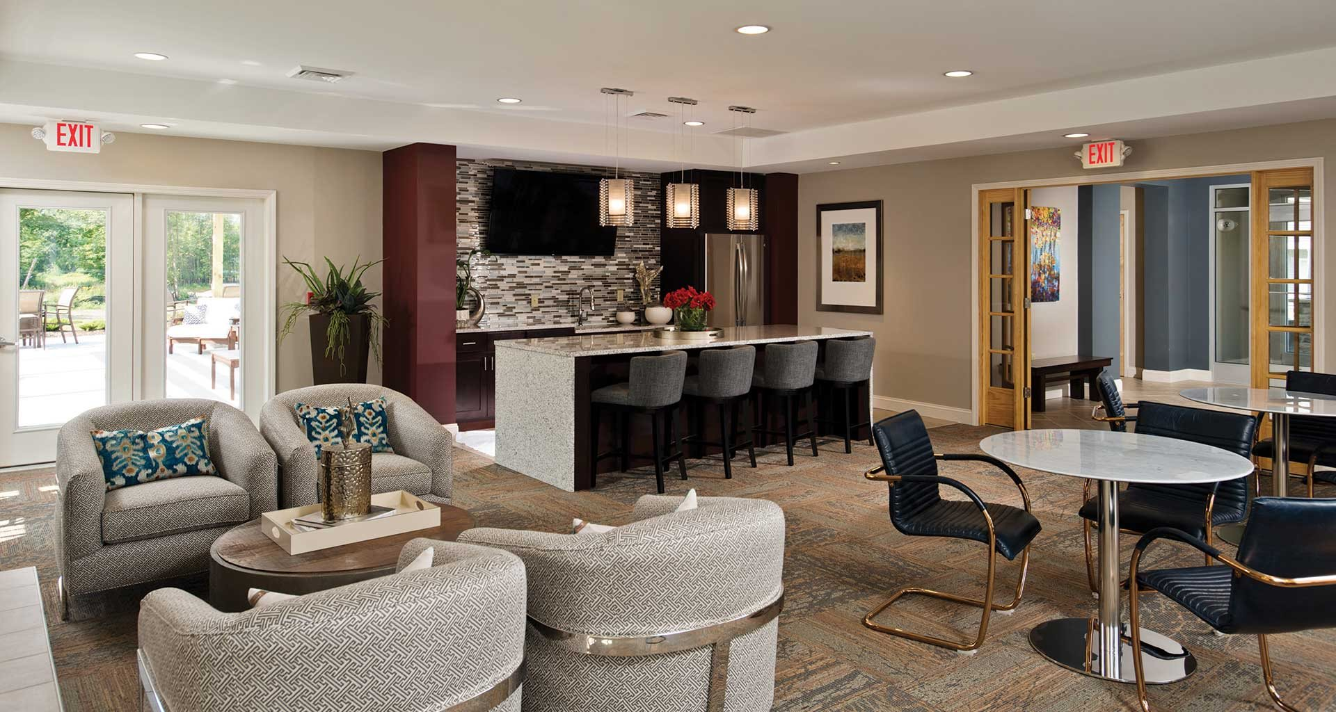 Club room with kitchen at Deerfield Place, Utica, NY