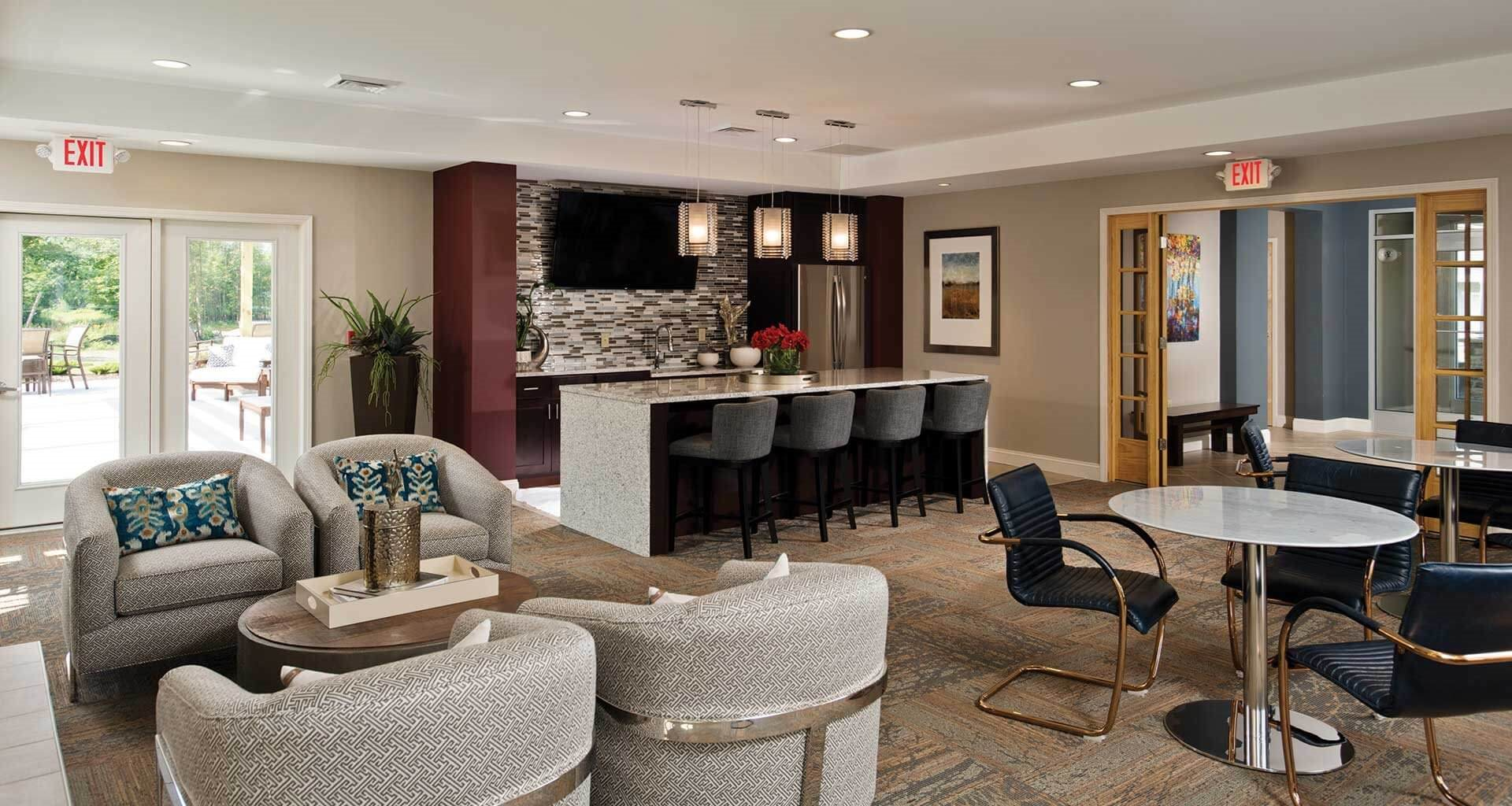 Club Room With Kitchen at Deerfield Place Luxury Apartments, Utica, NY, 13502