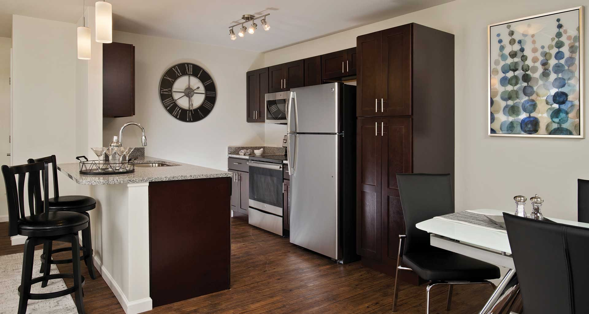 kitchen with breakfast bar at Deerfield Place, Utica, New York