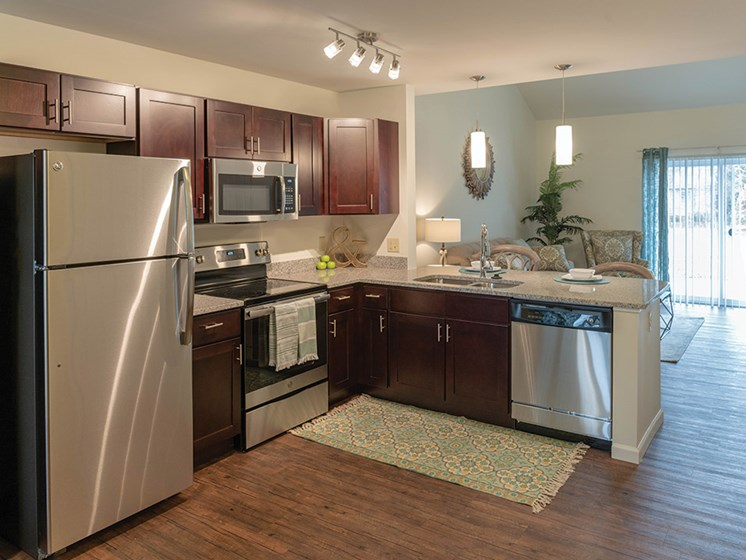 Refrigerator In Kitchen at Deerfield Place Luxury Apartments, Utica