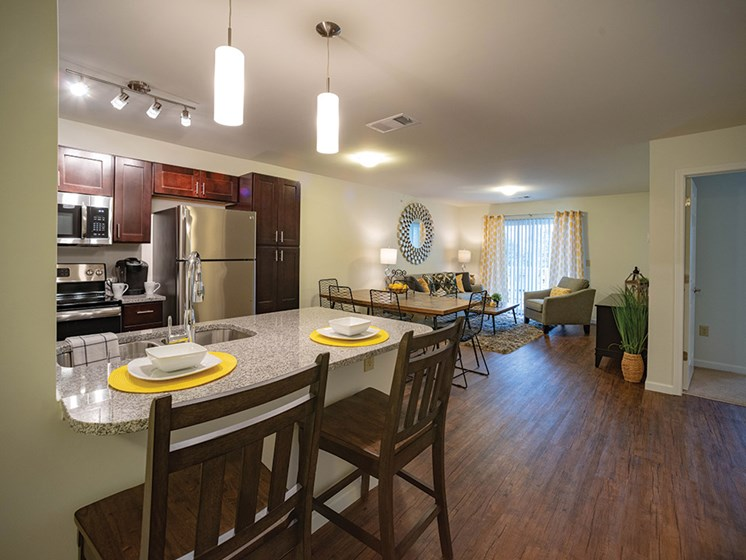 Kitchen With Energy Efficient Appliances at Deerfield Place Luxury Apartments, Utica