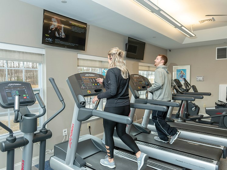 Fitness Center With Updated Equipment at Deerfield Place Luxury Apartments, Utica, NY, 13502