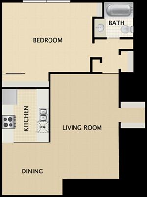 1 BEDROOMS, 1 BATH