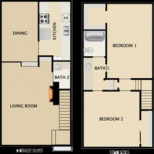 2 BEDROOMS  1.5 BATHS