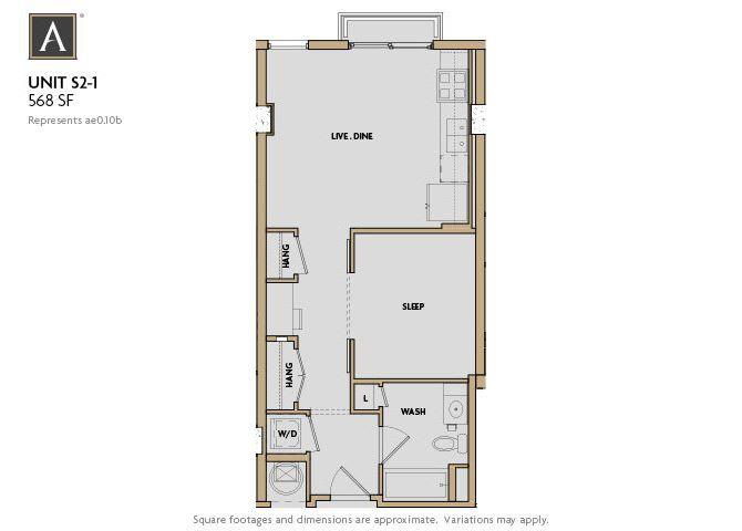S2-1 FloorPlan at Aertson Midtown, Nashville, 37203