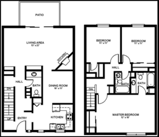 3x2.5 Townhome Floor Plan 5
