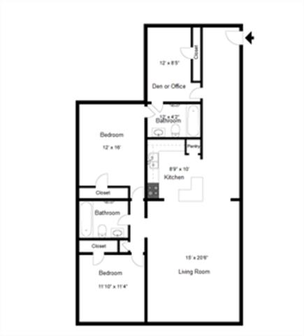 2x2 with Den Floor Plan 5