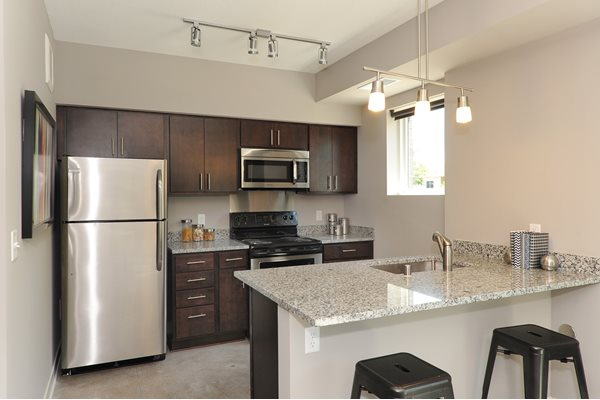 Granite Countertops in the Kitchens at Spectrum Apartments Townhomes Minneapolis