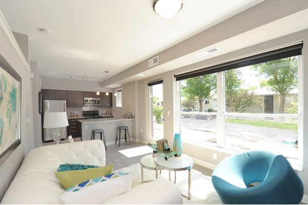 Living Area at Spectrum Apartments Townhomes Minneapolis