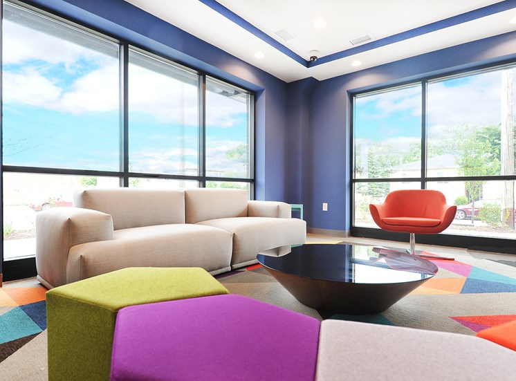 Lounge of Community Room at Spectrum Apartments Townhomes Minneapolis