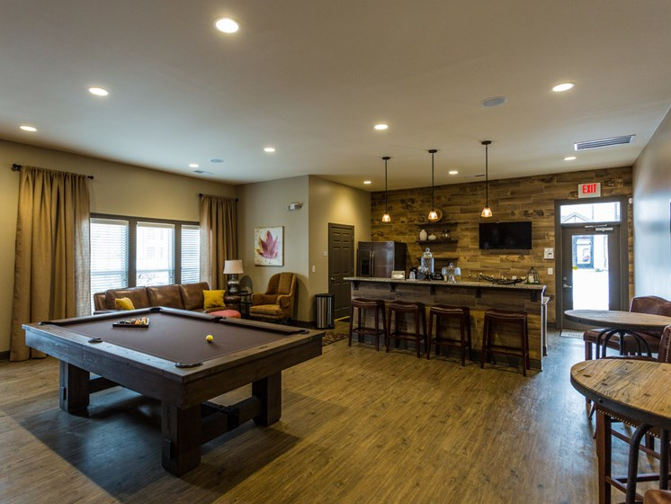 Billiards Table In The Gameroom at Copperfield Apartments, Smyrna, 37167